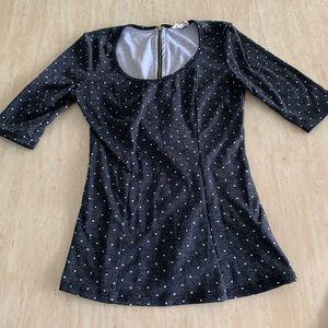 (5/25) Black w/ Mini White Polka Dot Zip-Up Shirt